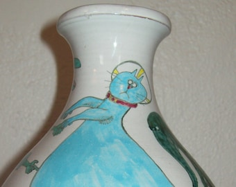Beast Ware Vase - early Jean Foss - Hand thrown, red clay, Hand Painted - Oregon Artist