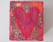Wood Block with Magenta Heart  - Valentine's Present
