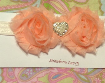 Peach Shabby Rosette Headband