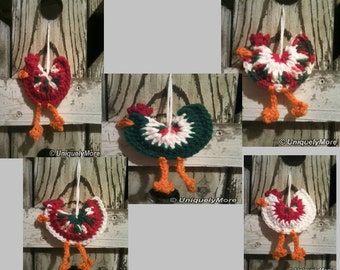 5 Chicken Ornaments MADE TO ORDER your chose of colors