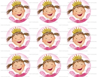 "INSTANT DOWNLOAD ~ Pinkalicious ~ 4x6 Digital File~ 1"" Bottle Caps 15 on Sheet"