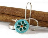 Flower earrings,  turquoise and pine green  flower,    sterling silver and resin, colorful jewelry, gift for a women, under 40