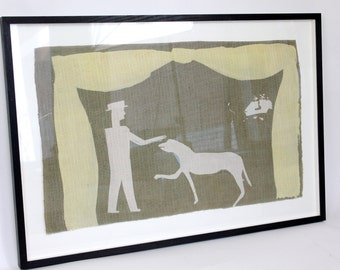 Patter. Man patting dog print on silk framed