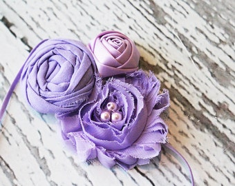 Lanvender Enlightment- Simple Solids Collection rosette and chiffon flower headband
