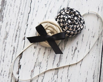 Hello Houndstooth- black tand and ivory double rosette headband