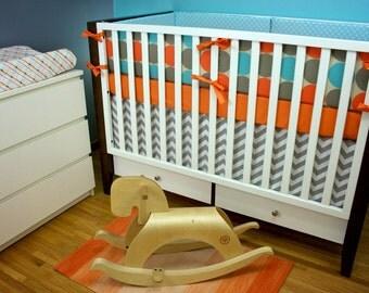 Cribset, Baby Bedding, Crib Bedding in Aqua and Orange
