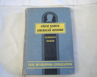Great Names in American History published by Laidlaw Brothers 1946, vintage pale green ish blue book, vintage book decor