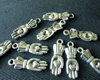 Destash (10) Small Heart in Hand Glove Charms - for pendants, jewelry making, crafts, scrapbooking