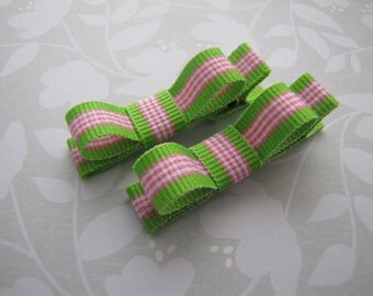 Pink & Lime Stripes . tuxedo bow clippies . toddler hair accessory . green pink