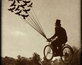 Steampunk Photograph, Fine Art, Man, Victorian, Photo, Gothic, Bike, Birds, flying picture, bicycle, Science fiction, flying machine
