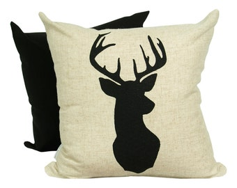 Black Deer Print, on Raw Natural Fabric
