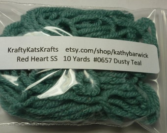 10 Yards Red Heart Super Saver Yarn #0657 Dusty Teal