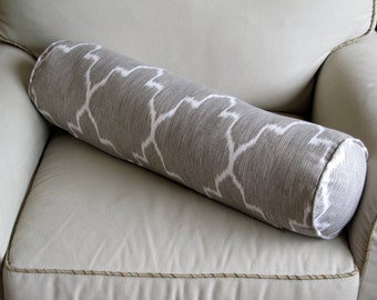 Ikat 8x30 linen gray/white bolster pillow includes insert / available in other fabrics