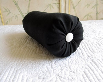 single BLACK with white buttons  6X18 bolster pillow