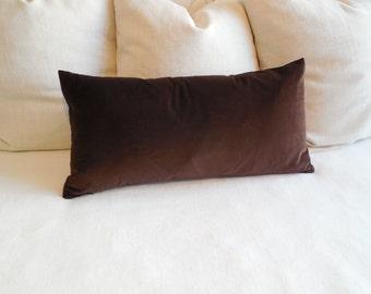 CHOCOLATE brown velvet lumbar decorative bolster pillow 13x26
