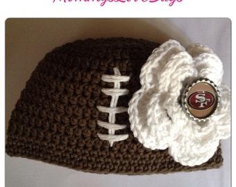 49er Raider Football Crochet Beanie - create with your team