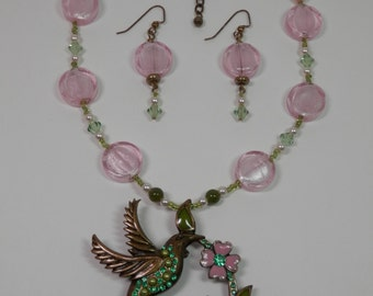 "16"" Lampwork Fashion Necklace, 2"" Matching Earring Set Antiqued Hummingbird Pendant Pink & Sage Green Swarovski Crystals Seed Pearled Beads"