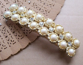 Vintage Hair Barrette Hollywood Regency Hair Accessory Faux Pearl Hair Comb Hair Clip Hair Slide Hair Jewelry Hair Ornament Headdress