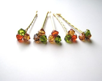 Fall Bobby Pin Crystal Clusters Brown Orange Green