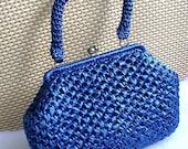 BLUE RAFFIA HANDBAG Made in Japan 1960s