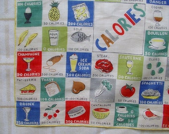 Hankie vintage COUNTING CALORIES 1960s Handkerchief colorful Diet Hanky