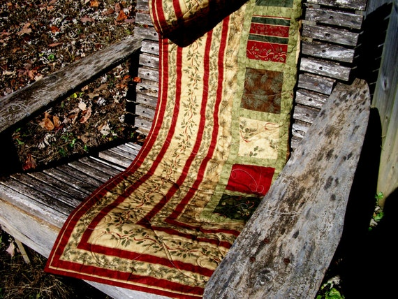 RESERVED FOR SANDY Northwoods Lap Quilt Red Green Brown Wall Hanging Birchwood Lane
