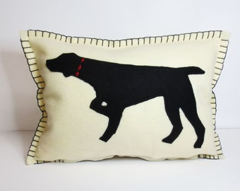 Felt Pointer Pillow - Cushion in Ivory with Black Pointer Silhouette Applique