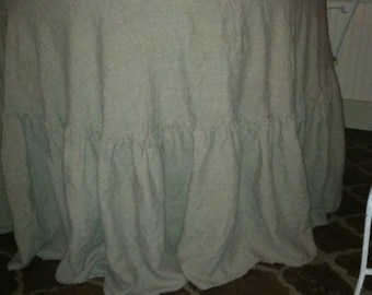 "90"" Round Ruffled Washed Linen Tablecloth"