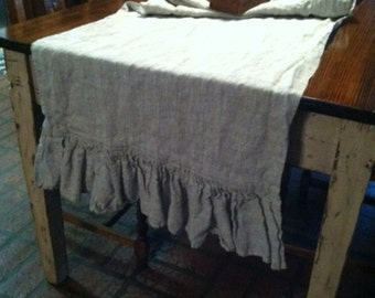 Washed Linen Ruffled Throw or Table Runner---Extra Wide Table Runner---Extra Long Table Runner