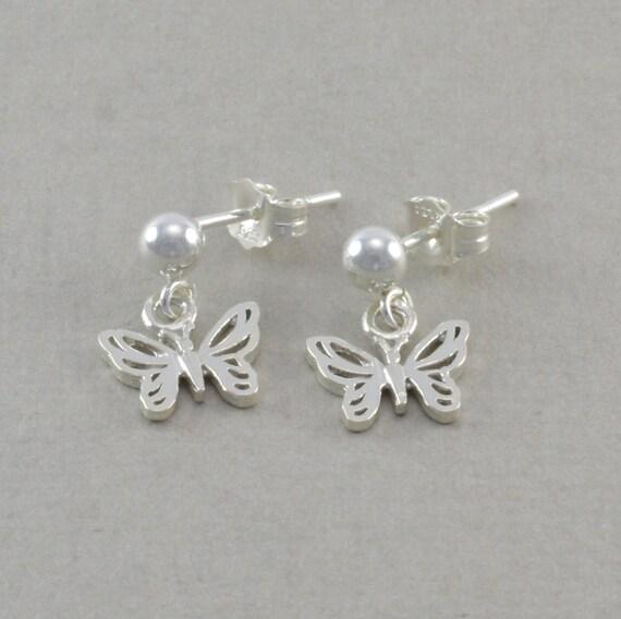 little girls butterfly earrings sterling by. Black Bedroom Furniture Sets. Home Design Ideas