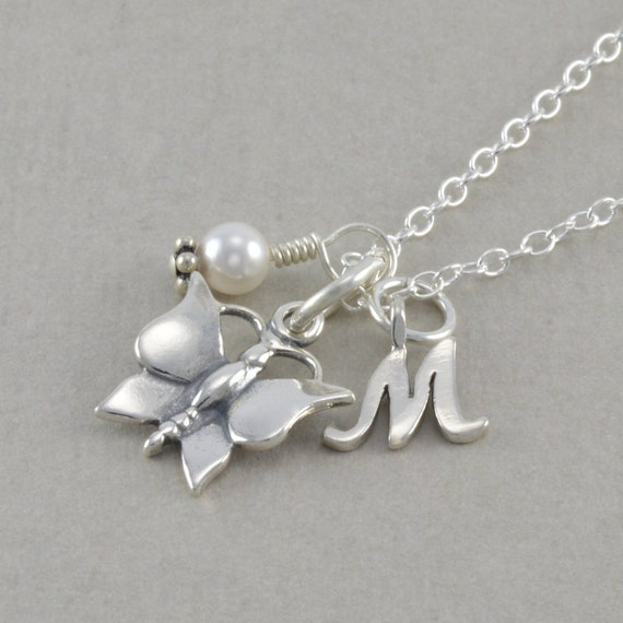 Butterfly Charm Necklace, Sterling Silver, little girl birthday necklace, childrens jewelry, initial, white pearl, teen gifts, custom, MOLLY