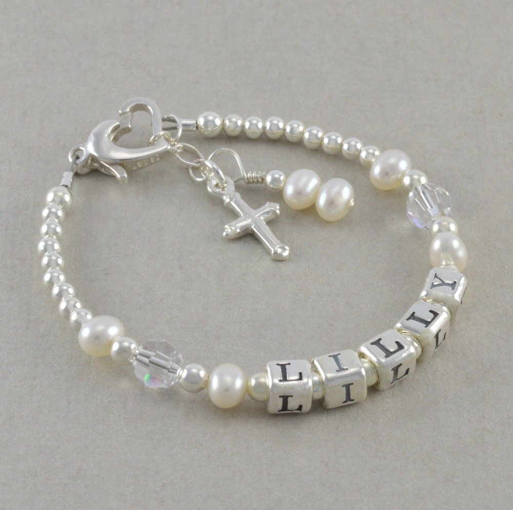 Baptism bracelet girls baby christening by sixsistersbeadworks - Gifts for baby christening ideas ...