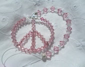 Peace Sign Sun Catcher in Pink Swarovski Crystal