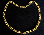 Vintage Monet 1980s Large Link Gold Plated 17 Inch Unisex Heavy Weight Necklace