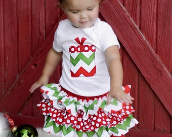 LONG SLEEVE baby or toddler Christmas chevron present shirt ruffle all around bloomer skirt w/fabric rolled roset
