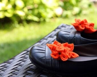 Orange Felt Flower Shoe Clips