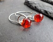 red earrings, fire stone,  lampwork glass and sterling silver