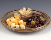 Serving Platter with Toothpick Holder, Olive Dish, Snack Tray - Handmade Stoneware Platter