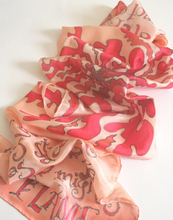 Inspirational Gift. Love is as strong as death.  Love Scarf. Hand Painted Silk.. foulard de soie