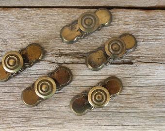 Vintage Brass Knob Sets, Set of 5, Trimplate and Knob Set