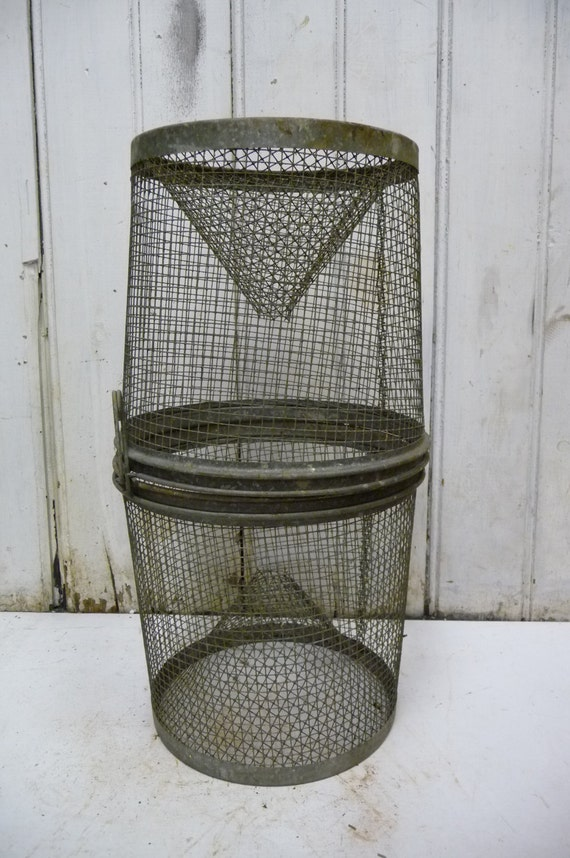 Items similar to vintage primitive wire mesh fish cage