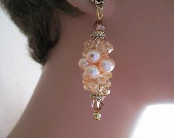 Peach Pearls Cluster Earrings Swarovski Crystals Dangle Chandelier Antique Gold Flower Ear Studs