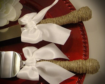 Rustic Wedding Cake Server and Knife Set WEDDING Table Settings  -Engraving Optional- Select Colors To Match Your Theme
