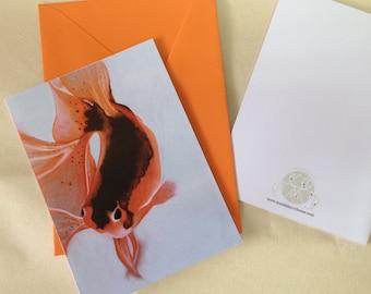Fish art card in Fanta Orange - blank inside