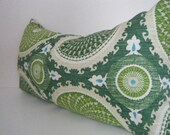 Green Lumbar Pillow, Green White throw pillow cover, emerald Green Pillows, Modern Rectangle Pillow Bohemian Decor