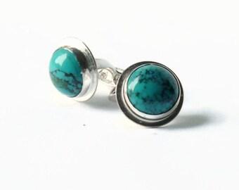Turquoise cufflink solid sterling silver cufflinks Stone cufflinks mens cuff links aqua blue wedding gemstone cufflinks