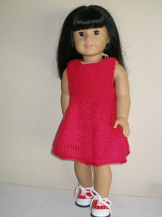 EASY RED DRESS Doll Knitting Pattern