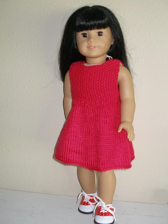 Knitting Pattern Dolls Dress : EASY RED DRESS Doll Knitting Pattern