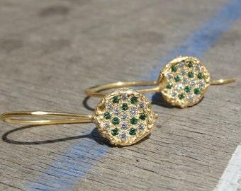 Gold Earrings , Diamond Earrings , Gold Diamonds and Emerald Earrings , 18k Gold Earrings