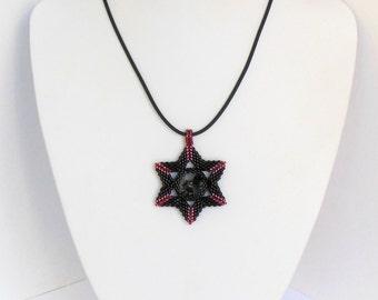 Star of David Swarovski crystal rivoli judaica red black Pendants necklace